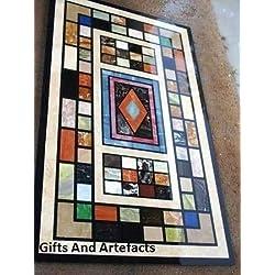 """Marquetería arte 72""""x 36"""" de mármol negro mesa de comedor superior Inlay Unique Diseño de descenso"""