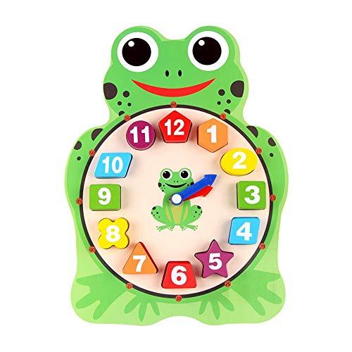 Eruditter 12 stücke Kinder Cartoon Tier Digitale Uhr holzspielzeug Puzzle Frosch Eule Form Kindergarten Kinder lehrspielzeug