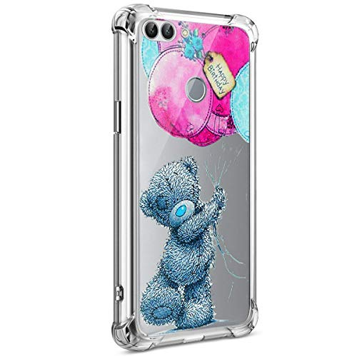 Coque Huawei P Smart, Coque Huawei Enjoy 7S Étui Silicone Transparente, Surakey [Silicone Renforcé Antichoc] Souple Housse Téléphone Couverture Protection en TPU Caoutchouc avec Absorption de Choc Bumper Semi Hybrid Crystal Clair Etui Housse pour Huawei Enjoy 7S / P Smart, Motif Colorés Imprimé Mince Housse Étui Protection Anti Choc Doux Gel Skin Case Cover Coque pour Huawei Enjoy 7S / P Smart (Ours Gris)