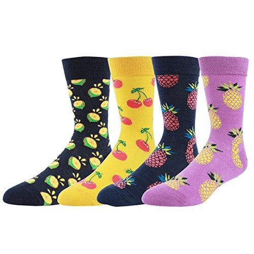 wytartist Herren Kleid cool Colorful Neuheit Funny Casual gekämmte Baumwolle Crew Socken 4Paar–Geschenk-Box, cherry (Casual Kleid Socken)