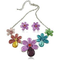 Gambulin Elegant Crystal Inlaid Daisy Necklace Earrings Set,Daisy Necklace Earrings Set for Women