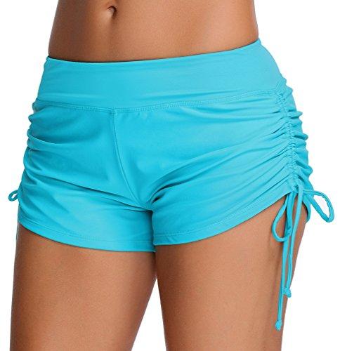 TDOLAH Damen UV Schutz verstellbare Bände Schwimmen Bikinihose Boyshorts Badeshorts Blau