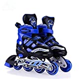 Hoteon Inline Skates Size Adjustable All Pure PU Wheels it has Aluminum-Alloy which is Strong with LED Flash Light on Wheels(Blue Color)