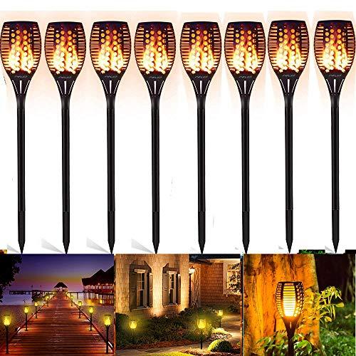 FVTLED® Solar Garten Licht, Solarleuchten 96 LED Bis Dawn Automatische Ein/Aus(Licht Sensor), spotlight Gartenleuchte licht garten beleuchtung soalr spotlight Außen warmlicht Wasserdicht IP65 (8PCS) -