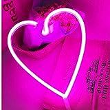 Herz Leuchtreklamen LED Dekor Nachtlicht Wand Dekor Weihnachtsdekoration Geburtstag Party Startseite LED Dekoleuchten Hochzeit Event Bankett Party Decor, Batterie und USB Power (Pink)