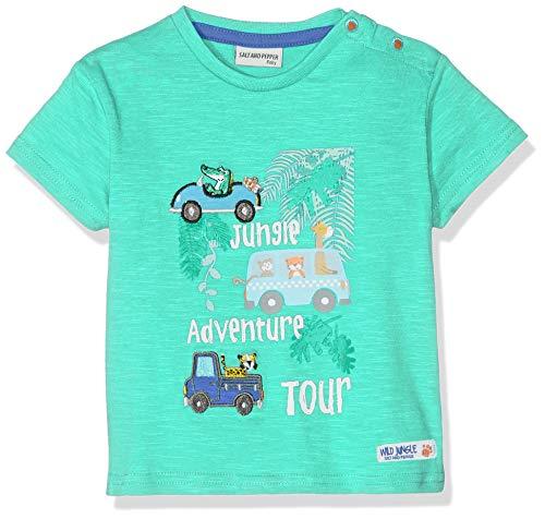 SALT AND PEPPER Baby-Jungen T-Shirt B Jungle Uni Autos, Grün (Summer Green 662) 80
