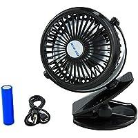 Clip Ventilatore, Mini Ventilatore Dello Scrittorio, Battery Operated Piccolo Personali Fan Forte USB Mulino a Vento, 360 ° di rotazione Ricaricabile Low Noise (nero)