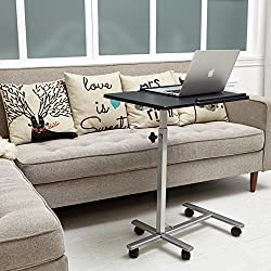 Laptop Table Stand Desk Cart Coavas Modern Desk With 5 Adjustable Height From 27.55-35.43 Inch Notebooks Black
