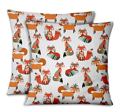S4Sassy Bianca Popeline di Cotone Fox Africano copridivano e Cuscini per la casacuscini Decorativi Cuscini per Il Divano Letto 2pezzi-16 x 16 Pollici