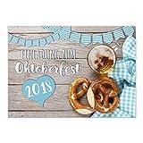 15 Einladungen zum Oktoberfest 2018/Format DIN A6, 2-seitig/Rustikal bayrisch/Einladungs-Karten zum Oktober-Fest mit Umschlägen/Garten Party