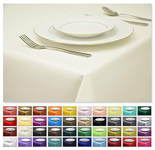 Rollmayer Tischdecke Tischtuch Tischläufer Tischwäsche Gastronomie Kollektion Vivid (Ecru 2, 140x220cm) Uni einfarbig pflegeleicht waschbar 40 Farben