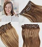 SHINING STYLE Clip-In-Extensions für Komplette Haarverlängerung - hochwertiges Remy-Echthaar - 120 g - 50 cm - Hellbraun -8