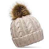 CASPAR MU104 Damen Mütze/Strickmütze mit Fellbommel, Farbe:rosa;Größe:One Size