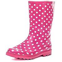 SPYLOVEBUY Kids Girls Boys Flat Festival Wellies Rain Boots Pink Spot Sz 3