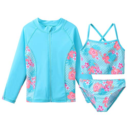 d2b65bb0787d4 HUAANIUE Ragazze Senza Maniche Tankini Set Flower Swimsuit Bikini Suit 3PPE  UPF 50+ Sun Protection