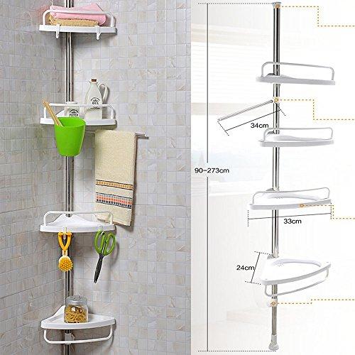 Mensola telescopica per doccia, ad angolo, in plastica, colore: bianco, st-32 metal 4 tier (90cm - 270cm)
