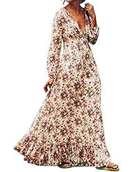 Tefamore Rétro Femmes Imprimer Floral Robe de soirée à manches longues à col en V