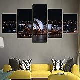 mmwin Leinwand HD Print Wandkunst Landschaft Modulare Bilder 5 Stücke Sydney Opera House Night s...