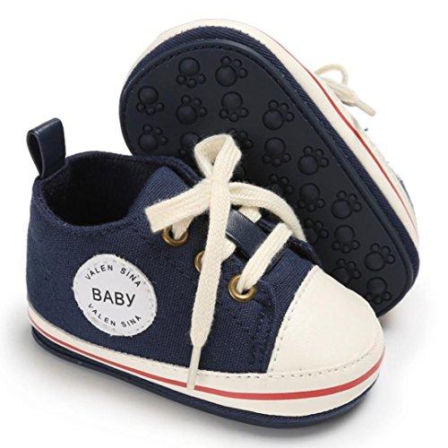 Igemy 1 Paar Kleinkind Mädchen Jungen Krippe Neugeborene Soft Sole Anti-Rutsch Baby Segeltuch Schuhe Turnschuhe Marine