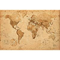 "GB eye ""World Map, Antique Style"" Maxi Poster, Multi-Colour, 61 x 91.5 cm"