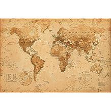 AMBROSIANA GB eye LTD, Mappa del Mondo, Antique Style, Maxi Poster, 61 x 91,5 cm