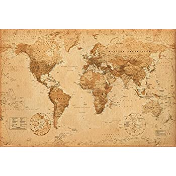 World map poster contemporary black grey style 915 x 61cms gb eye world map antique style maxi poster multi colour 61 x 915 cm gumiabroncs Choice Image
