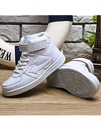 aemember Boys 'Athletic zapatos primavera otoño PU al aire libre Casual Athletic soporte de talón cordones blanco negro rojo azul, US3.5 / EU35 / UK2.5Big Kids, Blanco