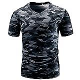 T-Shirts,Honestyi 2018 Frühling Sommer Herren T-Shirt Totenkopf Kapitän Männer Casual Camouflage Print V-Ausschnitt Pullover Kurze T-Shirt Top Bluse (EU-42/CN-L, Grau)