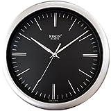Rikon Quartz Plastic Round Shape Small Size 22.5 Cm X 22.5 Cm Home Decor Wall Clock - 11 (Black Silver)
