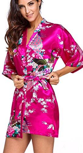 FLYCHEN Damen satin Morgenmantel Pfau und Blüten japanische kurze Kimonos Roserot-7