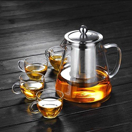 Anti-déflagrant verre résistant à la chaleur bouilli thé noir thé en acier inoxydable filtre à thé bouteille d'eau de ménage 750 ml (théière + 4 tasses) GAODUZI ( forme : B )