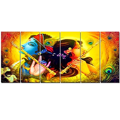 Ray Decor Radha Krishna Wall Painting 6 Frames