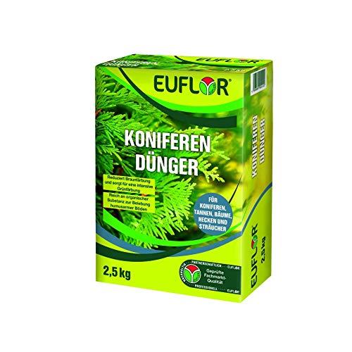 Euflor Koniferendünger 2,5 kg•Organisch-mineralischer NPK-Dünger 5+4+6 mit 4% MgO•Spezialdünger für alle Nadelgehölze • Mit hohem Anteil an Magnesium zur Blattgrünbildung • Beugt der Braunfärbung vor