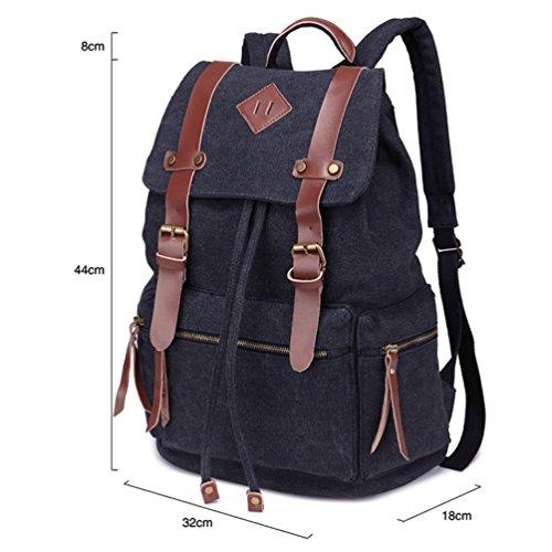Leefrei vintage Canvas Rucksack Damen Herren Rucksäcke Retro Schulrucksack Backpack Daypack für Uni, Wandern, Outdoor Sport, freizeit, Einkaufen mit der großen Kapazität (kakifarbe2) Schwarz-Grau