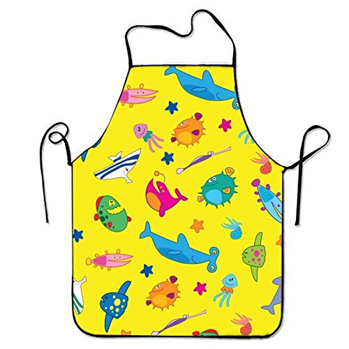 ERCGY 2019 Apron Unisex Waterproof Aprons Fanny Fish Kitchen Apron for Cooking Gardening