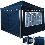Deuba Faltpavillon 3x3m Blau | 9m² Pop Up Pavillon | 4 Seitenwände