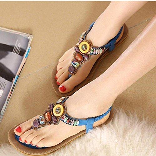 Oriskey Femmes de Bohême Simple Sandales été Plat Tongs Flip Flops Sandales Avec Bohême Perles Chaussures Bleu
