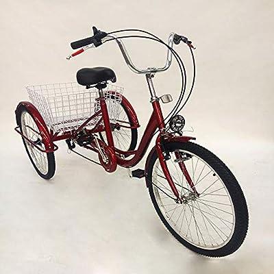 """MINUS ONE Dreirad Für Erwachsene Erwachsenen Dreirad Fahrrad Mit 3 Rädern Seniorenrad Lastenfahrrad 24"""" 6-Gang-Schaltung Shimano mit Licht"""