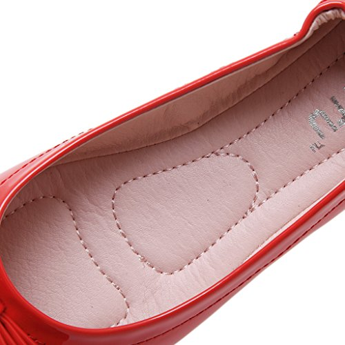 Fortuning's JDS Weichen Sohlen spitzer Kegel Lässige Super-Mode / Wild Erbsen Schuhe Rot