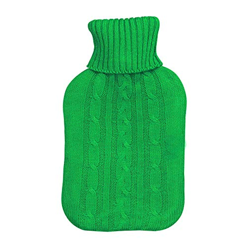 Bouillotte grand format - housse en tricot - vert