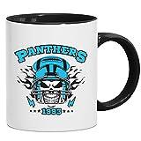 Panthers Skull Tasse | American Football | Totenkopf | Football-Helm | Kaffeetasse mit Farbe | Keramik-Becher © Shirt Happenz, Farbe:Schwarz (Intone);Größe:onesize
