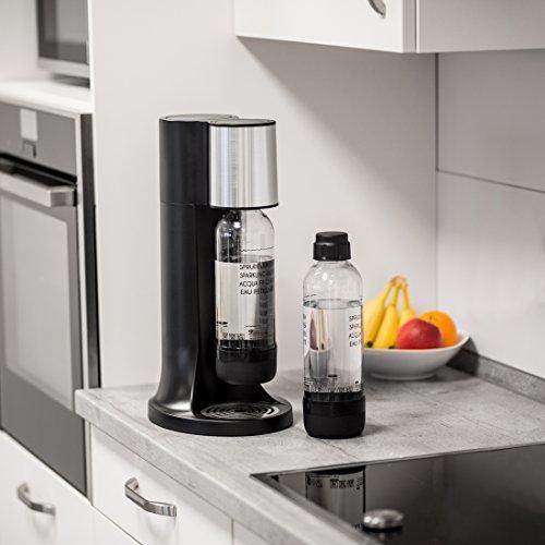 Levivo Wassersprudler Starter-Set inkl. 2 Sprudelflaschen & CO2-Zylinder 60 Liter in Weiß oder Schwarz, Schwarz - 3