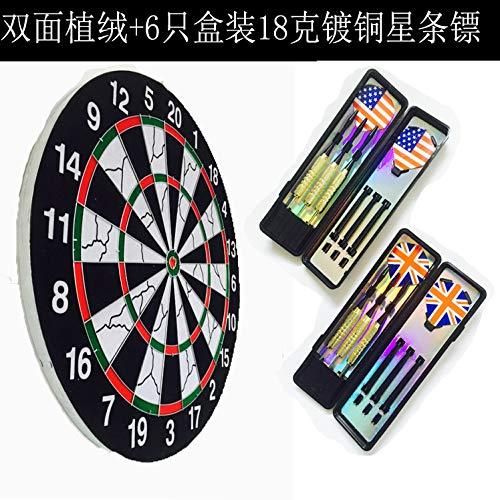 18-Zoll-doppelseitige Beflockung Darts Ziel professionelle Fliegende Ziel gesetzt Spiel gewidmet Darts Kindergeschenke18 Zoll 6 verkupfert Darts