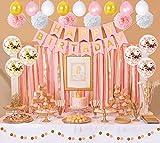 Roségold Geburtstag Party Dekoration für Mädchen Happy Birthday Wimpelkette Banner mit Konfetti-Luftballons, Pom Pom Blumen, Dot Papiergirlande und Latex-Luftballons