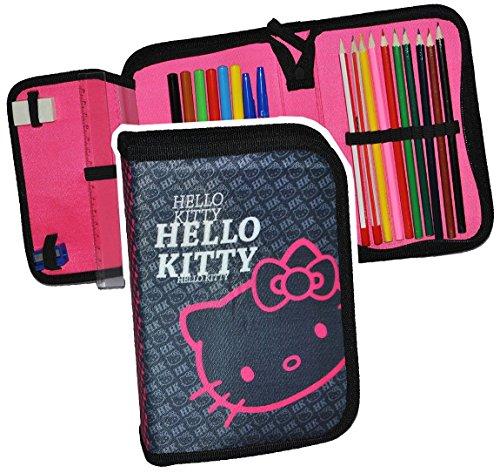 23 tlg. gefüllte Federmappe Hello Kitty - für Kinder Mädchen / Schiefermappe - Katzen schwarz Schüleretui Schlampermappe Schule (Schwarze Hello Katze Kitty)
