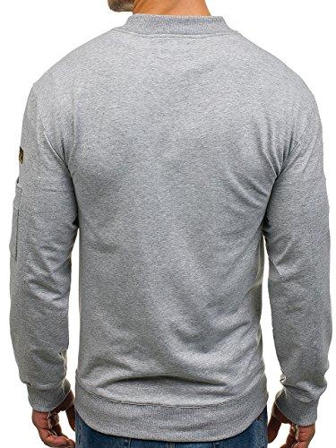 BOLF Herren Sweatshirt Sweatjacke Langarmshirt Stehkragen Zip 1A1 MIX Grau_0733