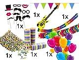 TK Gruppe Timo Klingler XXL Set Partydeko Party Deko Dekoration für Tisch mit Luftballons, Girlande, aufblasbare Gitarre, Fotorequisitten, Luftschlangen, Konfetti für Tisch und Party (XXL Set)