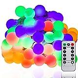 LED Globe Lichterkette Bunt, 100er LED Kugel Lichterkette 10m Innen/Außenbeleuchtung mit Fernbedienung, RGB, Lichterkette glühbirnen mit 8Modi und Timer für Weihnachten Hochzeit Party Weihnachtsbaum