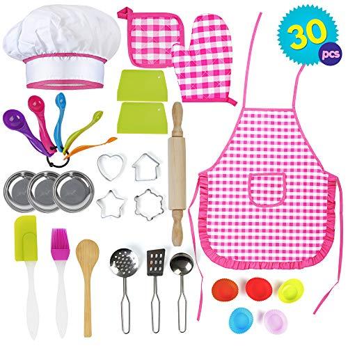 Mädchen Kochset 30 teilig | Bäcker-Rollenspiel Kochspielzeug Haushaltsspielzeug | Kinder Küchenzubehör-Set | Kinder Backen Spielzeug