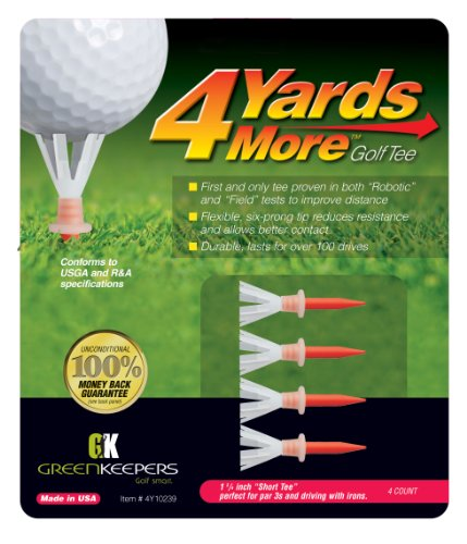 Greenkeepers 4 Yards More Golf Tee (Short Red, 1 3/4-Inch) by 4 Yards More